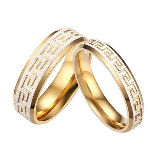 PAURO Edelstahl Paare mit 18k Gold Great Wall Pattern Ringe für Promise EngageHerrent Herren Größe 65 (Paar Ringe Aus Edelstahl)