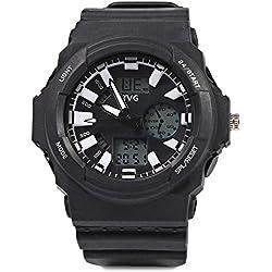 Leopard Shop TVG KM - 391 Sport Wristwatch Multifunctional Male Dual Movt Watch Calendar LED Display 3ATM White