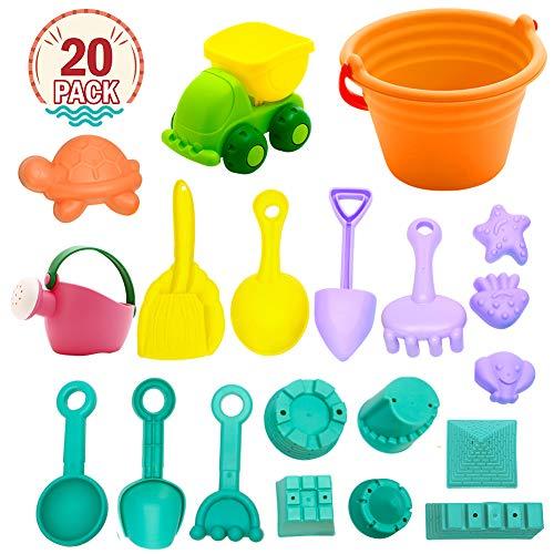 Twister.CK Beach Toys, 20 Stück Kinder Baby Sand Sandbeach Spielzeug Sommer Im Freien Spielset mit Schloss Eimer Spaten Schaufel Rake Wasser Werkzeuge Garten Spielzeug Geschenk