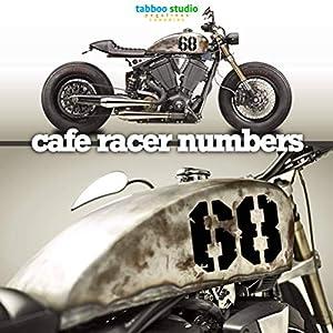 Cafe Racer Motorrad Aufkleber Nummern kompatibel mit BMW Honda Harley Davidson Kawasaki Motorrädern