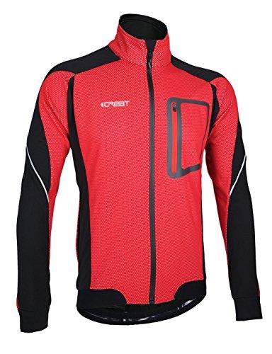 iCreat Herren Jacke Air Jacket Winddichte Lauf- Fahrradjacke MTB Mountainbike Jacket Visible reflektierend, Fleece Warm Jacket für Herbst, ROT Gr.XL