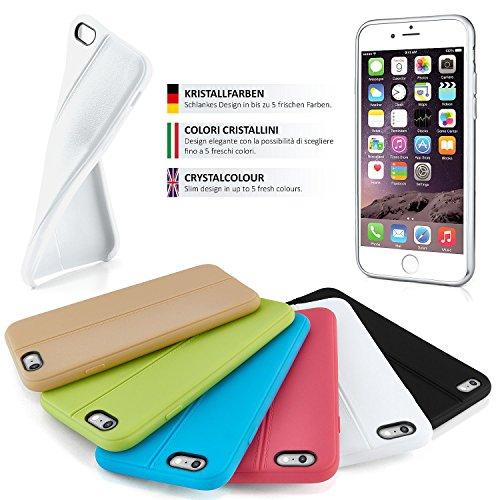 Premium Handy Tasche für iPhone 6 / 6S | Silikon Hülle in eleganter Leder Optik | Handy Schutz Case von OneFlow | Back Cover in Weiss COCO