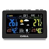 ORIA Wireless Farbe Wetterstation, Innen Außen Temperatur Digitale Hygrometer mit Der Temperatur Alerts, Doppelte Wecker, Innen Outdoor Temperatur Luftfeuchtigkeit Prognose, Uhr, Druck und Mondphase