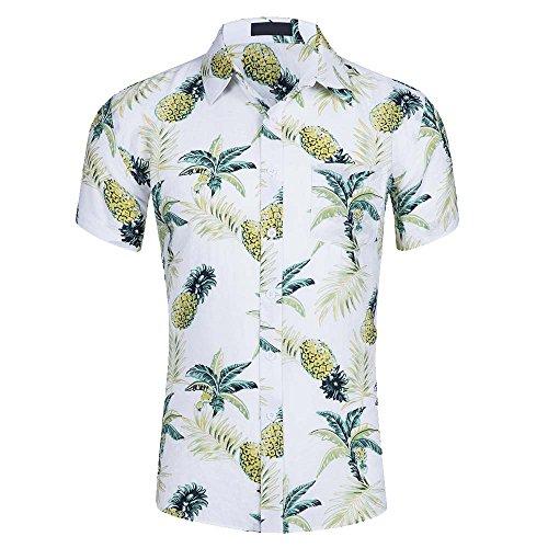 Aelegant Herren Sommer Strand Kokospalme Ananas Hemd Kurzarm Hawaii Hemd Urlaub Freizeit Hemd (Ananas Hawaii-shirt)