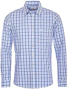 Almsach Trachtenhemd Friedolin Slim Fit Mehrfarbig in Hellblau und Blau Inklusive Volksfestfinder