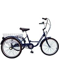 Triciclo para adultos–24pulgadas, 3marchas Azul–Con Freno de contrapedal, cesta y–Timbre para bicicleta