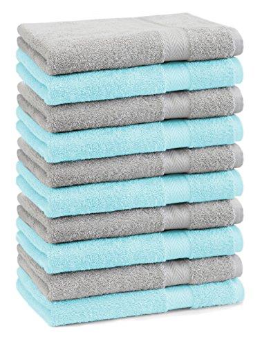 BETZ lot de 10 serviettes débarbouillettes taille 30x30 cm 100% coton Premium couleur gris argenté et turquoise
