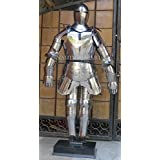 MEDIEVAL FULL SUIT OF ARMOR WITH ATTACHED BREAST PLATE LEG GUARD AND SHOULDER GUARD HALLOWEEN COSTUME by NAUTICALMART