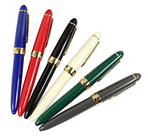 Set di penne stilografica Jinhao 992, set 6 penna a colori, clip dorata, colori solidi (nero, blu, verde, grigio, rosso, bianco)