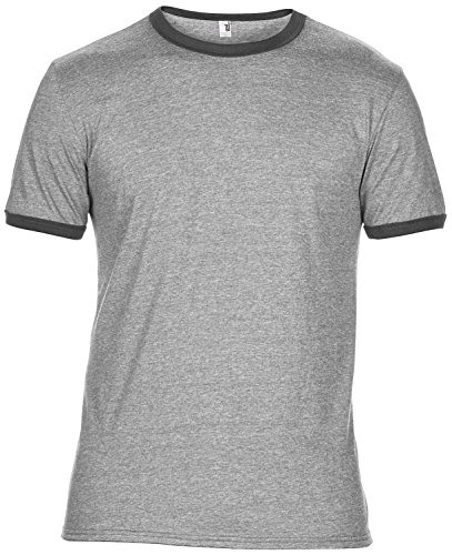 Anvil Adult Lightweight Ringer Tee - 7 Co - Heather Grey/ Heather Dark Grey - XL (T-shirt Ringer Heather)
