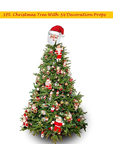 WebelKart® Combo of 3 FT (36 INCHES) Christmas Tree (Table/Desktop) with 54 pcs Christmas Decorations(Assorted)