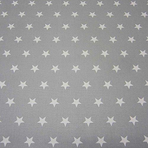 STOF Tissu au mètre étanche étoiles Gris Blanc Nappe en Coton Enduit