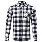 Xmiral Herren Bluse Art und Weise beiläufige Langarmhemd Taschen Lattice Bedruckte T-Shirt (M,A-Weiß)