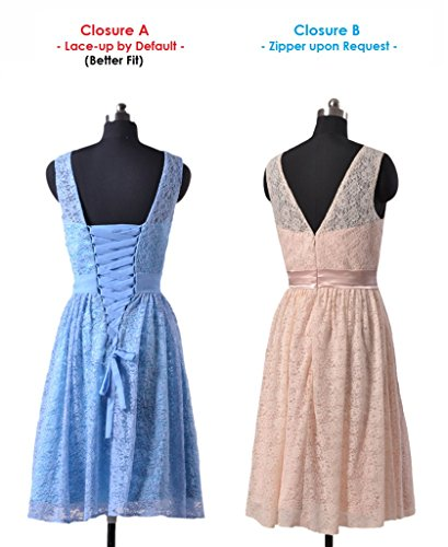 daisyformals courtes en dentelle robe de demoiselle d'honneur à Vintage Robe en dentelle Parti (bm43225) Bleu - #40-Ice Blue