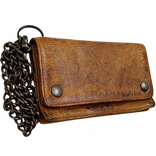 BARON of MALTZAHN Geldbörse Kettenbörse Portemonnaie CARNEGIE aus braunem Leder (Wallet Biker)