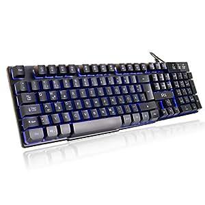 Rii RK100 Gaming Tastatur (105 Tasten, 3 Farben LED-Hintergrundbeleuchtung, QWERTZ Layout)  Schwarz