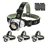 LE Stirnlampen, 4 Helligkeiten zu wahlen, LED Kopflampe, leicht und superhell, ideal für Wandern, Camping, Ausflug, AAA Batterien Inklusive, 4er Pack