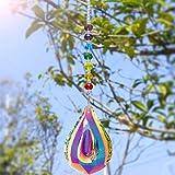 Kylewo Sun Catcher con pendagli in Cristallo per Finestra, Cristallo Ornamenti Arcobaleno Finestra Sun Catcher Rainbow Maker Appeso Palla di Vetro Prisma (Forma Longan)