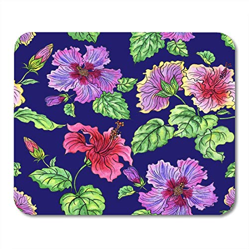 Deglogse Gaming-Mauspad-Matte, White Beautiful Colorful Abstract Watercolor Pattern of Hibiscus Floral on Blue Green Aloha Blossom Mouse Pad,Desktop Computers Mouse Mats,