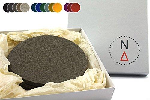 NordernArt 6er Set Getränkeuntersetzer aus Filz rund 10cm natur Wollfilz (Farbe wählbar) Untersetzer zum Schutz Ihrer Oberflächen für Wohnzimmer Bar Küche, edle Optik (Taupe / grau)