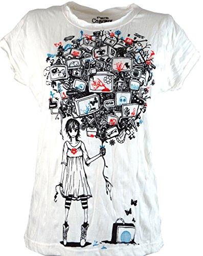 Guru-Shop Pure T Shirt TV Balloon, Damen, Baumwolle, Sure - Shirts Alternative Bekleidung Weiß
