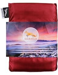 Silkrafox - Saco de dormir ultraligero para las excursiones de senderismo, los viajes, las acampadas, seda artificial, rojo