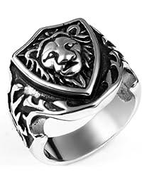 JewelryWe Anillo de la joyería del gótico Lyon anillo de acero inoxidable hombre mujer del estilo retro para Banda boda del compromiso (con bolsa de regalo)