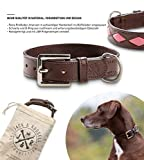 Jack & Russell Premium Leder Hunde Halsband Rhonda - Leder Zwei Farben gesteppt - echtes Leder Hundehalsband Rhonda (M, Braun/Pink)