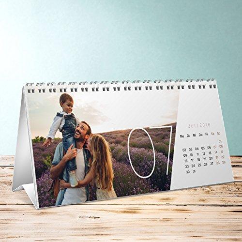 Offset Satin (Foto Kalender drucken, Quer durchs Jahr Tischkalender, Aufstellkalender 260x120 mm, Fotokalender 2018)
