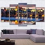 hlfymx (Sin Marco) Wall Art Pictures ForG Room Decoración para El Hogar Impresiones En HD Lienzo 5 PiezasPinturaPragaCiudad Escena Nocturna Cartel
