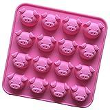 Cdet 1Pcs Silikonform mit 16 Schweinchen, DIY Silikonform, Sylvester, Backform, Eiswürfel, Praline, Schokolade, Süßigkeiten, Glücksbringer, Pig, New-Year, Ice-Cube, Marzipan,...