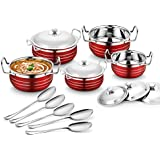 Classic Essentials Stainless Steel Handi Set Of 5 With 5 Serving Spoon