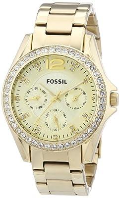 Fossil ES3203 de cuarzo para mujer, correa de acero inoxidable color dorado (agujas luminiscentes)