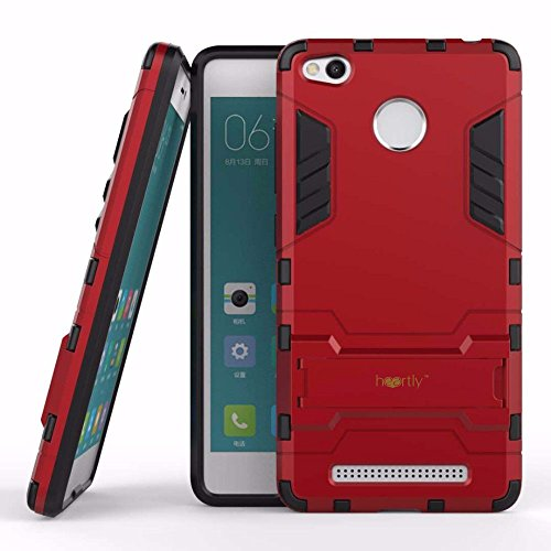 Heartly Xiaomi Redmi 3S Prime/3S Back Cover Graphic Kickstand Hard Dual Rugged Armor Hybrid Bumper Case - Hot Red