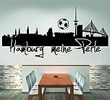 Skyline Hamburg meine Perle (120 cm Breite, schwarz) Wandtattoo, Wandaufkleber, Wohnzimmer, Dekoration, Wanddekoration + GRATIS-Zugabe!!!