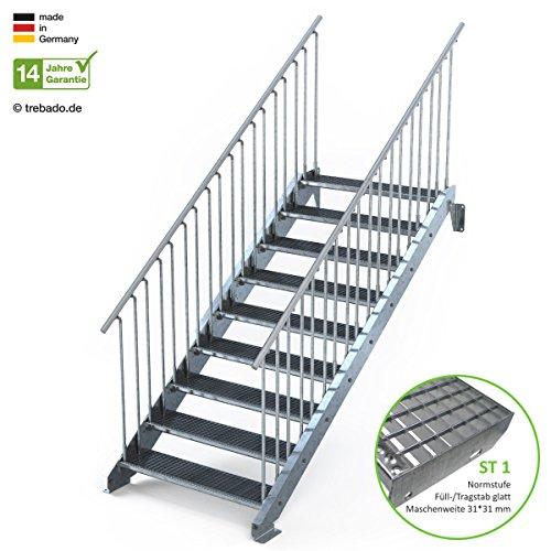 Außentreppe 9 Stufen 110 cm Laufbreite - beidseitiges Geländer - Anstellhöhe variabel von 150 cm bis 180 cm - Gitterroststufe ST1 - feuerverzinkte Stahltreppe mit 1100 mm Stufenlänge als montagefertiger Bausatz