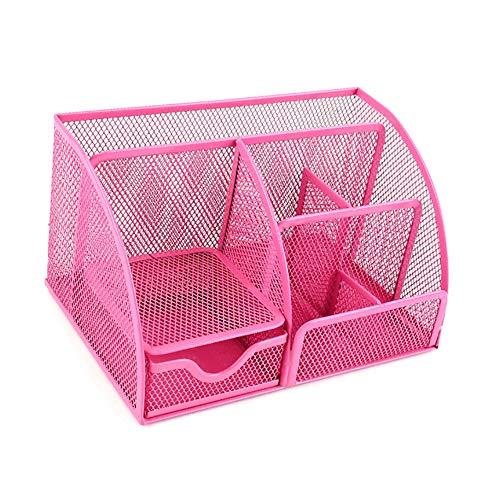 Mesh Desk Organizer, multifunktionale Desktop Storage Organizer - großer Schreibtisch, Eitelkeit, Tischplatte im Home Office, Pink (Color : Pink) -