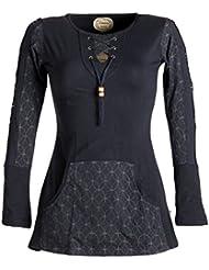 Vishes - Alternative Bekleidung – Bedrucktes Kapuzen Longshirt aus Baumwolle mit Kangurutasche