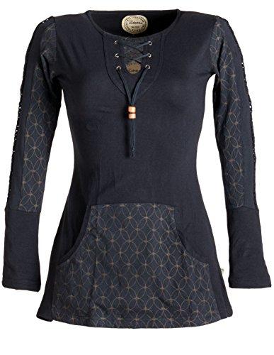 Vishes - Alternative Bekleidung – Bedrucktes Kapuzen Longshirt aus Baumwolle mit Kangurutasche schwarz 42 (Kleidung Alternative)