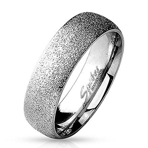 Bungsa 67 (21.3) Diamantoptik Ring Silber Edelstahl für Damen sandgestrahlt 49 52 54 57 (Ring Damen Fingerring Partnerringe Verlobungsringe Trauringe Damenring Edelstahlring Chirurgenstahl)
