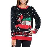 Btruely Damen Pullover Winter Weihnachten Gedruckt Langarmshirt Rundhals Sweatshirt Langarm Top Slim Fit Sweater