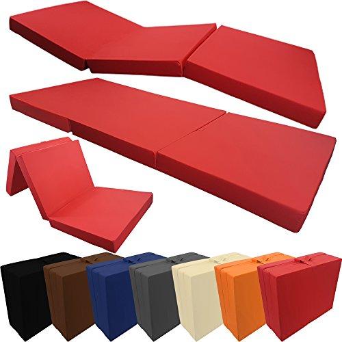 PROHEIM Klappmatratze Basic 195 x 65 x 8 cm komfortable Faltmatratze/Gästematratze mit Microfaserbezug bequemes Notbett/Gästebett, Farbe:Rot