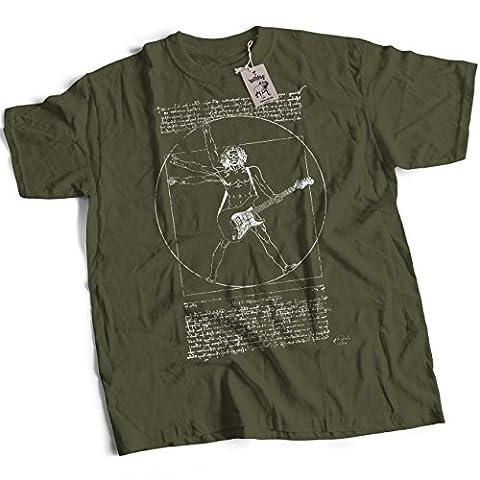 bybulldog® Leonardo Vitruvian Guitarist Premium Guitar T-Shirt Olive Large