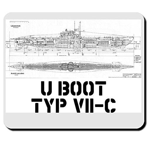 U Boot Typ VII C Marine U-Boot Waffe Bauplan Zeichnung - Mauspad Mousepad Computer Laptop PC #7958 -