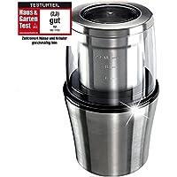 ProCrush Elektrische Universalmühle Kaffeemühle 2in1, Edelstahl Zerkleinerer und Kaffeemahlwerk, 200W für 20 Sek. zum mahlen - mit Edelstahlmesser, für 100g Kaffeebohnen, silber gebürstet