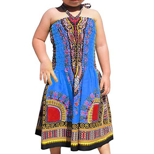 MCYs Chirdren Mädchen Kinder Baby Ärmellos gekräuselten Riemen Kleidung afrikanische Prinzessin Kleid (Afrikanische Kleidung Für Mädchen)
