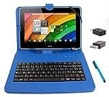 DURAGADGET Etui aspect cuir bleu + clavier intégré AZERTY (français) pour tablettes Acer Iconia Tab A700 / W700 et W500, A210/A211, A510 10,1' + stylet tactile et adaptateur micro USB vers USB BONUS