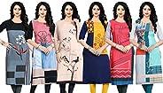 Navlik Women's Crepe Stitched Kurti Combo Pack of 6 (Multi-Colou