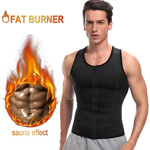 Men Hot Neoprene Workout Sauna Tank Top Zipper Waist Trainer Vest Weight Loss Body Shaper Compression Shirt Gym Clothes Corset by Aliver (XL)