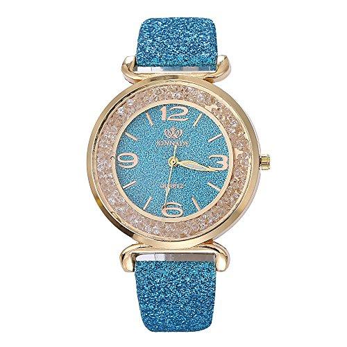 BaZhaHei Damen Uhren Mode-Frauen-Kristall-Edelstahl-analoge Quarz-Armbanduhr Wasserdicht Quarz Klassische Luxusuhr (Blau)